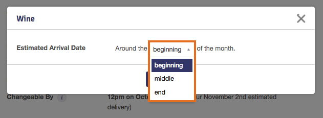 How do i change my monthly estimated arrival date for my scheduled